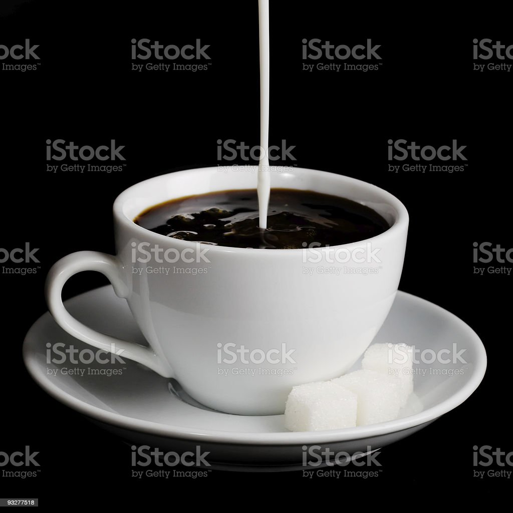 Cup of coffee on white background stock photo