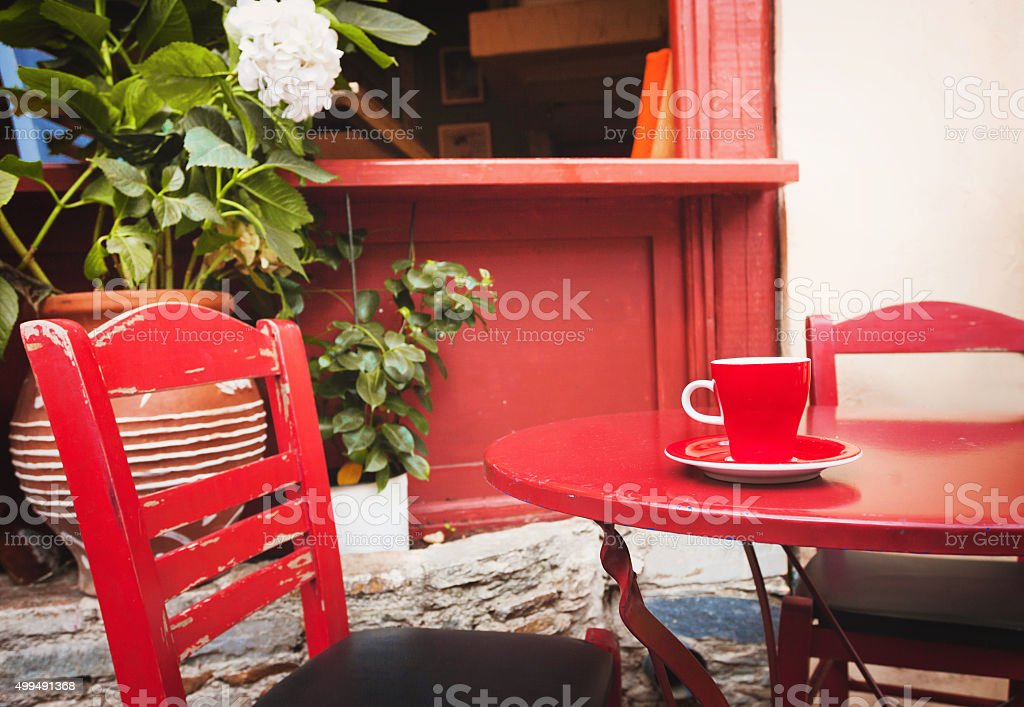 Cup of coffee outdoors stock photo
