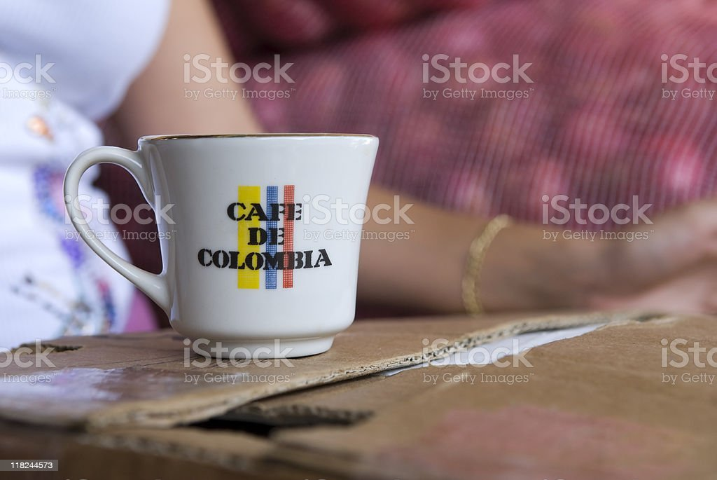 Mug of Colombian coffee in Medellin, Colombia stock photo