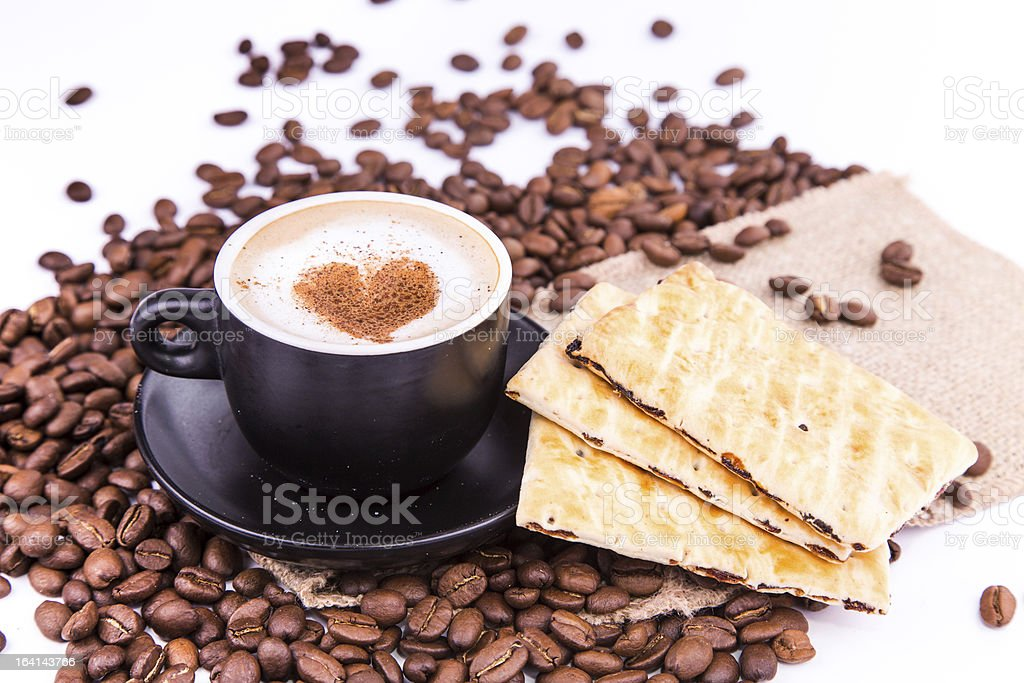 Cup of coffee with a heart. Coffee break concept. royalty-free stock photo