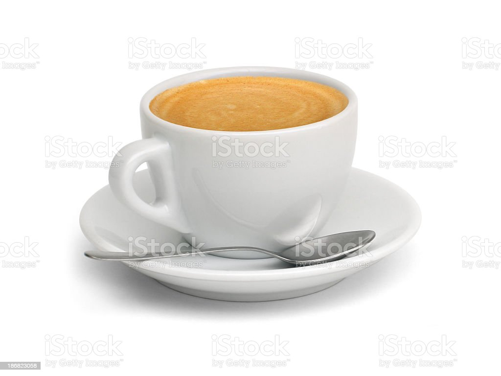 A cup of coffee with a spoon and saucer stock photo