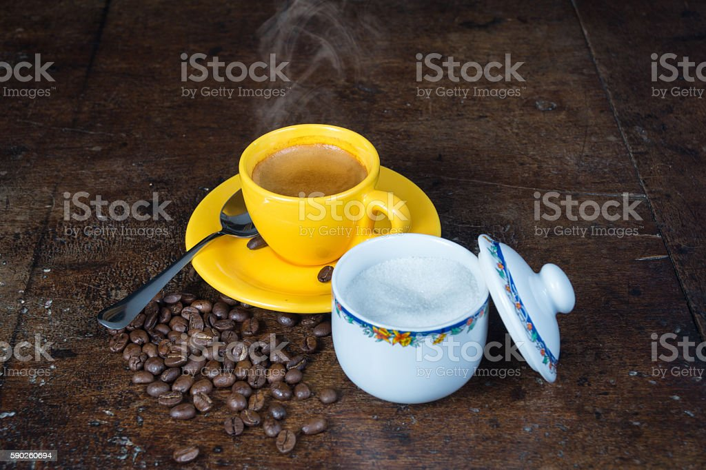 Cup of coffee, with arabica coffee beans, Italian coffee stock photo