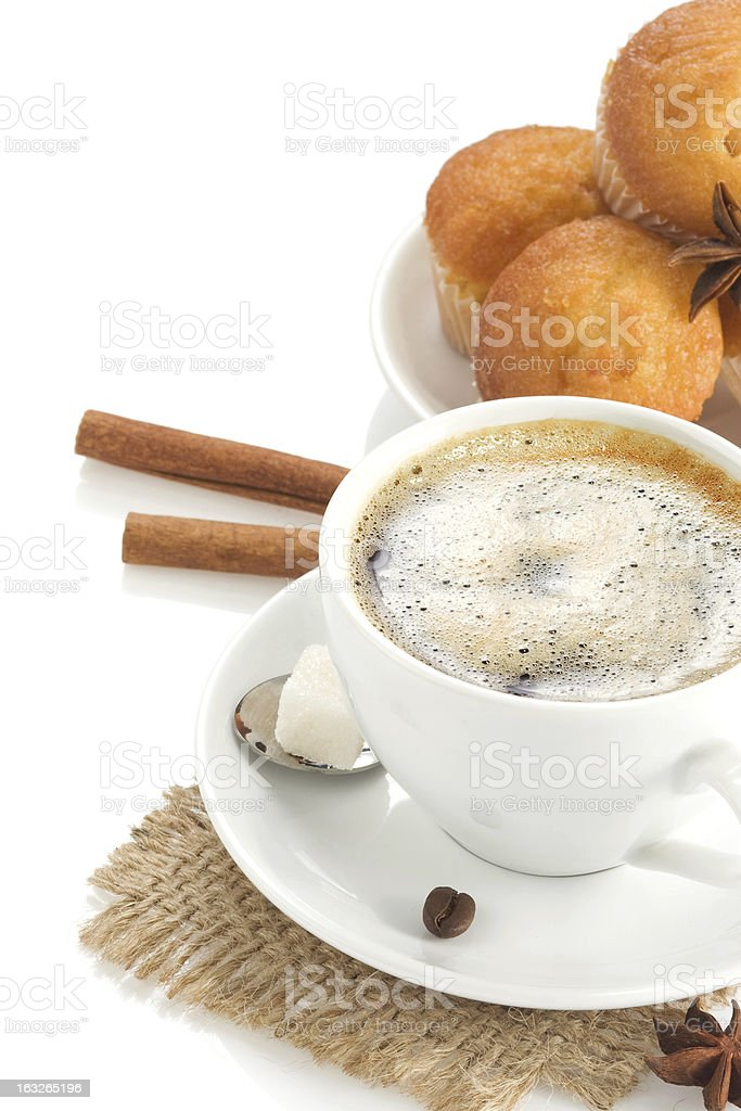 cup of coffee with beans isolated on white royalty-free stock photo
