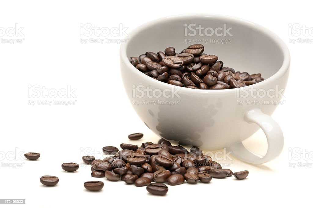 Cup of Coffee with beans on white background royalty-free stock photo