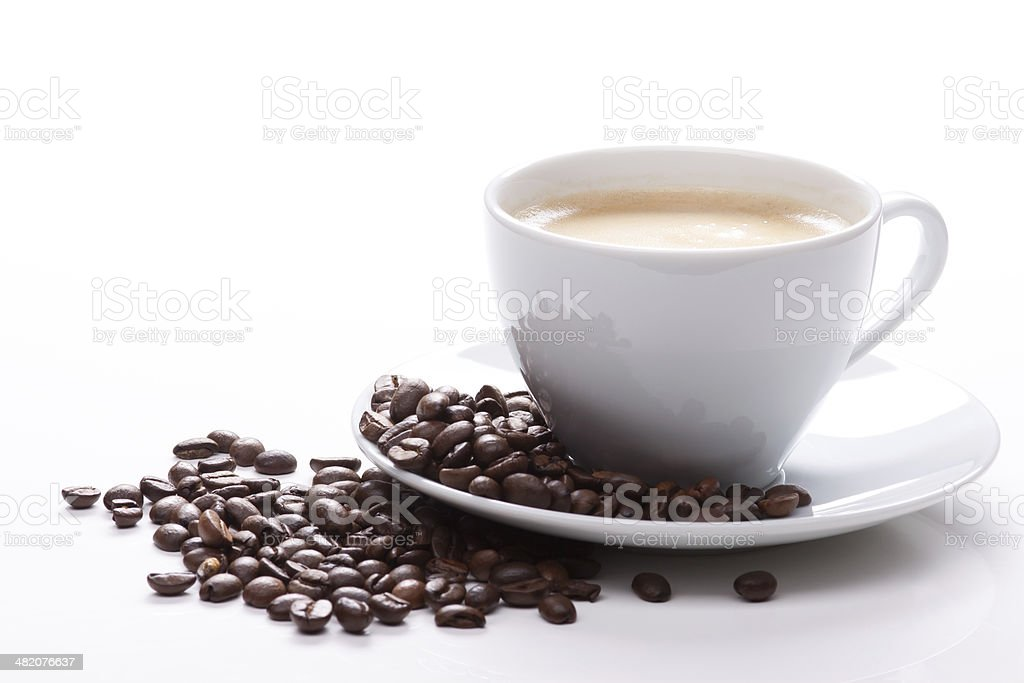 cup of coffee with beans stock photo
