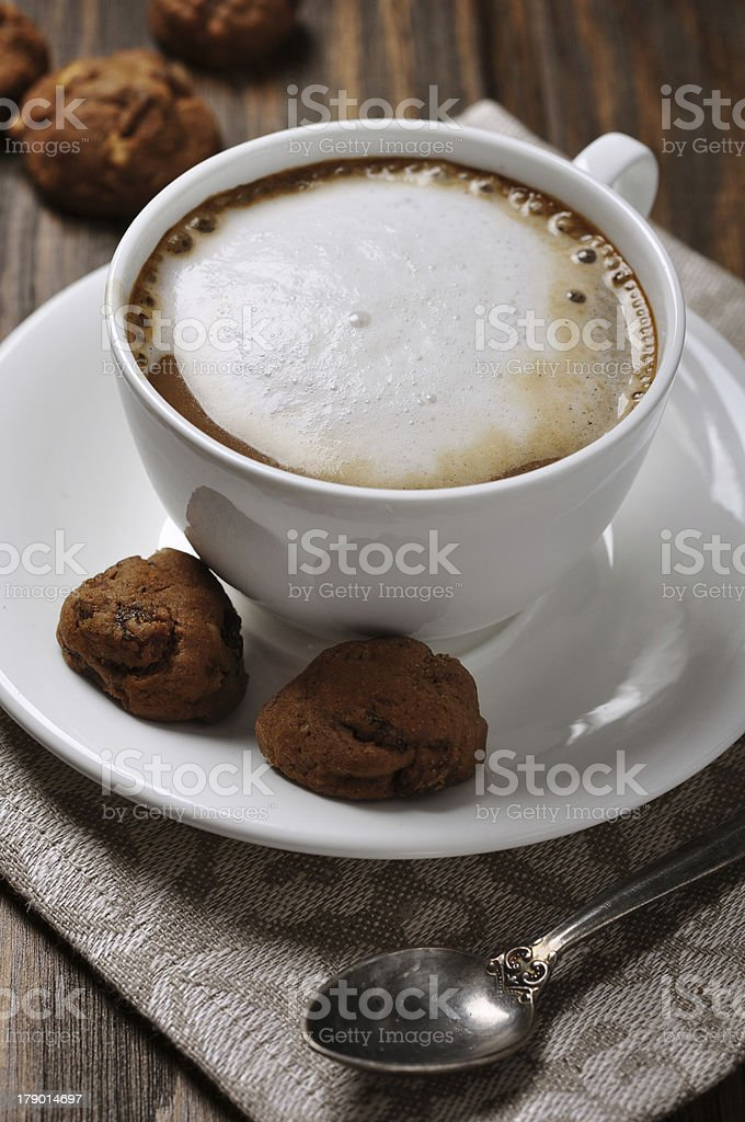 Cup of coffee with biscotti royalty-free stock photo