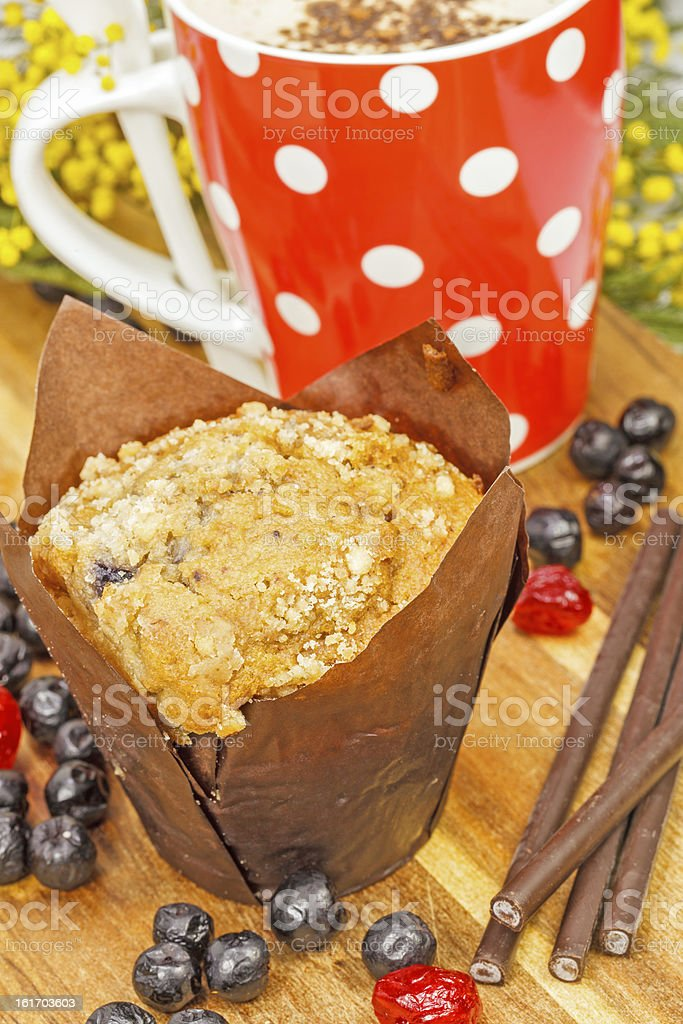 Cup of coffee with Blueberry muffin royalty-free stock photo