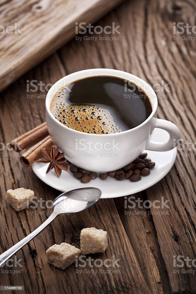 Cup of coffee with brown sugar. royalty-free stock photo