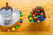 cup of coffee with candies