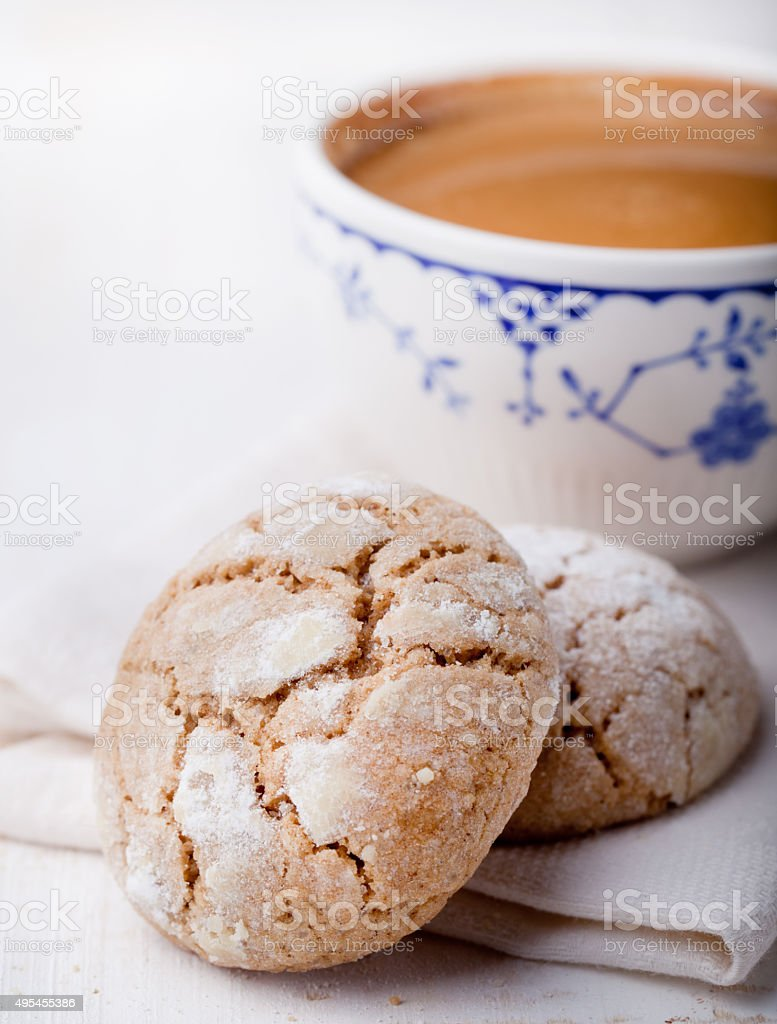 Cup of coffee with cookies. Breakfast . Morning. stock photo