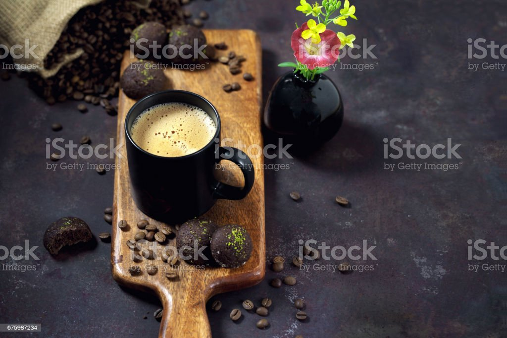 Cup of coffee with cookies stock photo