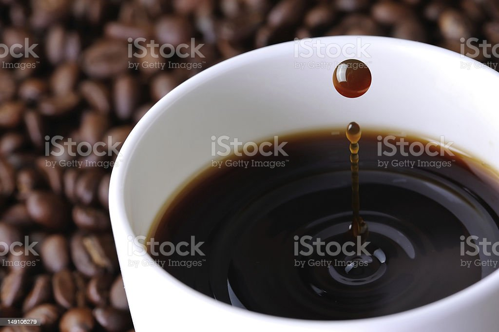 Cup of coffee with droplet stock photo