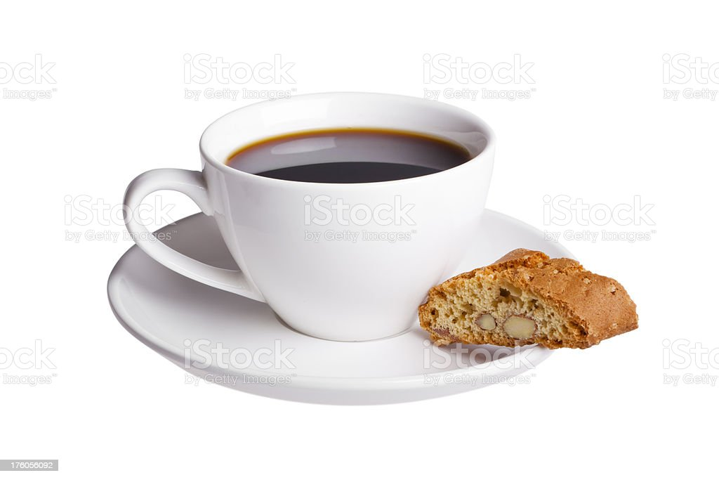 Cup of coffee with Italian cookie, isolated on white royalty-free stock photo