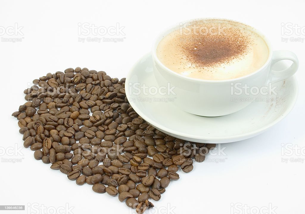 cup of coffee with large heart royalty-free stock photo