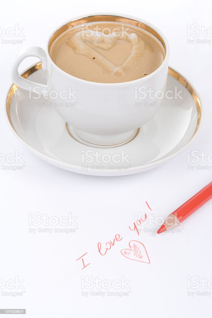 Cup of coffee with love royalty-free stock photo