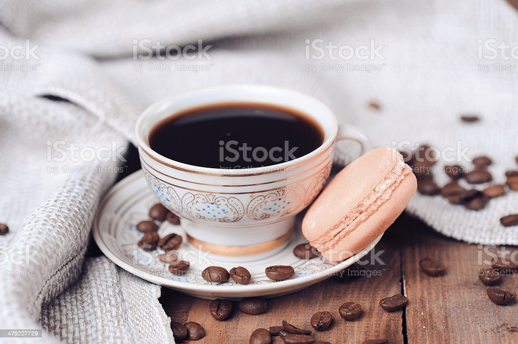 Cup of coffee with maracon royalty-free stock photo