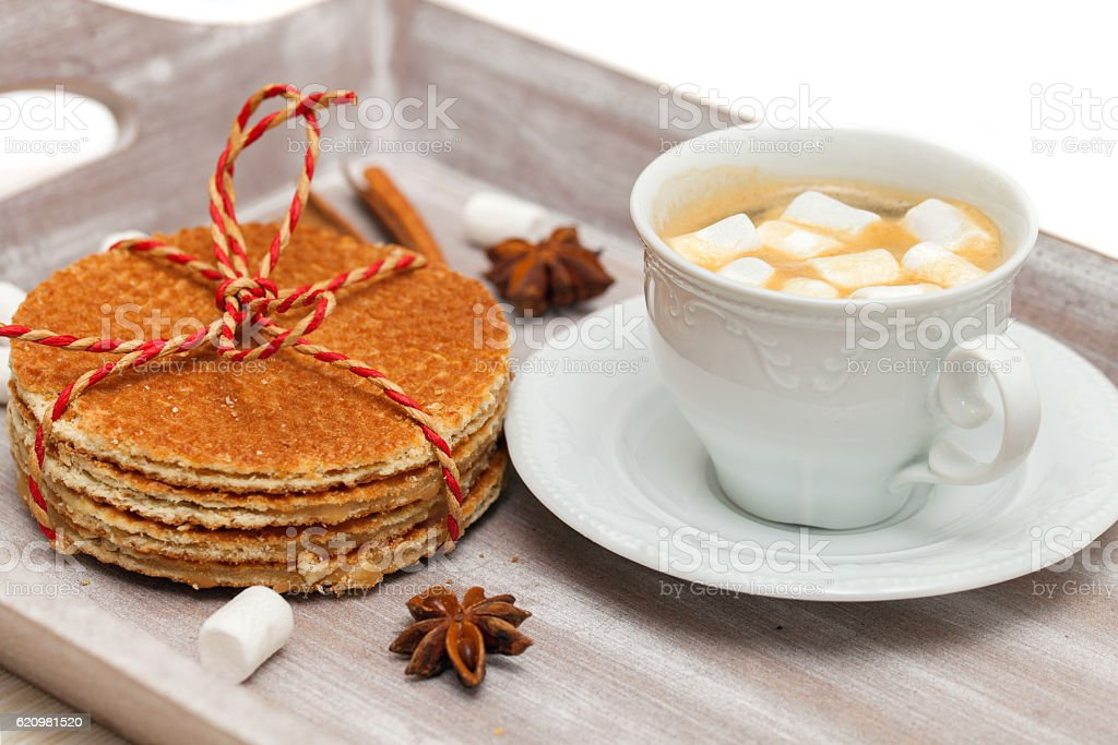 Cup of coffee with marshmallows stock photo