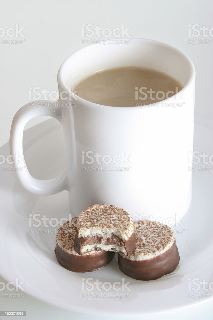 cup of coffee, with meringue cakes royalty-free stock photo