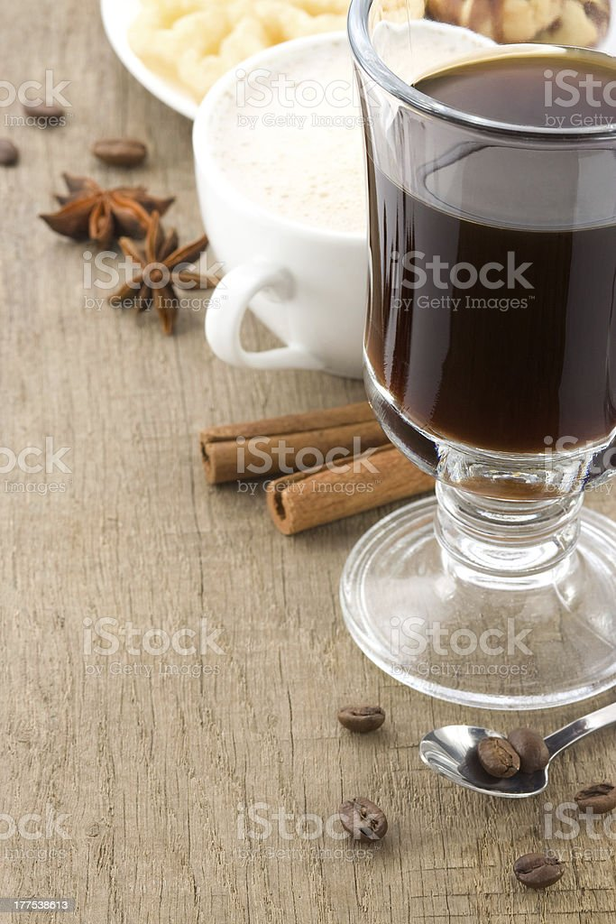 cup of coffee with roasted beans royalty-free stock photo