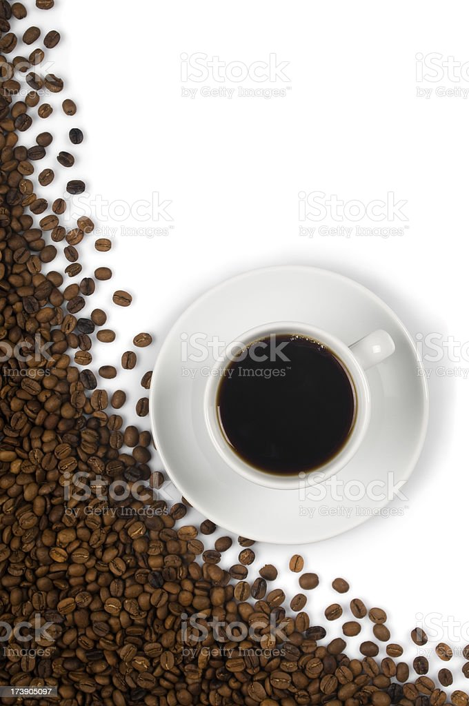 Cup of coffee with roasted coffee-beans royalty-free stock photo