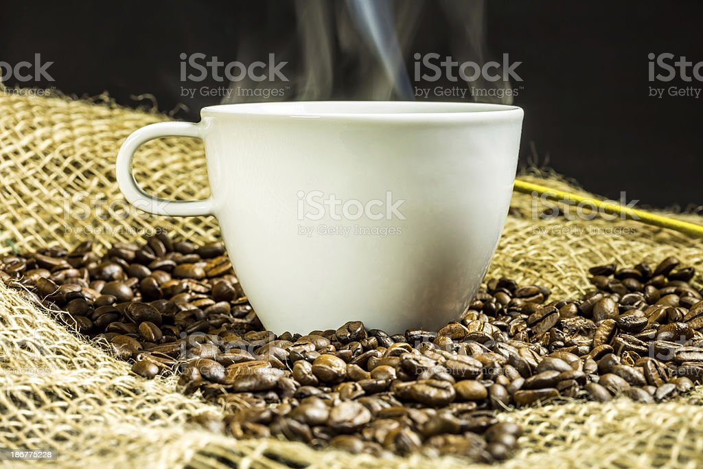 Cup of coffee with smoke royalty-free stock photo