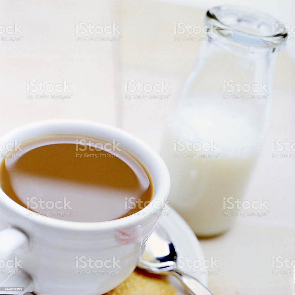 cup of coffee with vintage cream bottle and sugar royalty-free stock photo