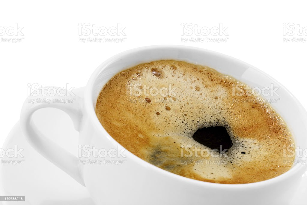 cup of delicious espresso coffee on a white background royalty-free stock photo