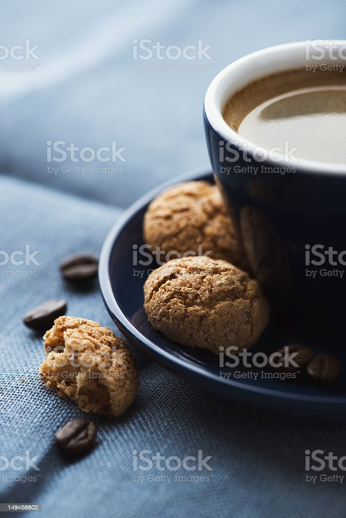 Cup of espresso and biscotti on the saucer royalty-free stock photo