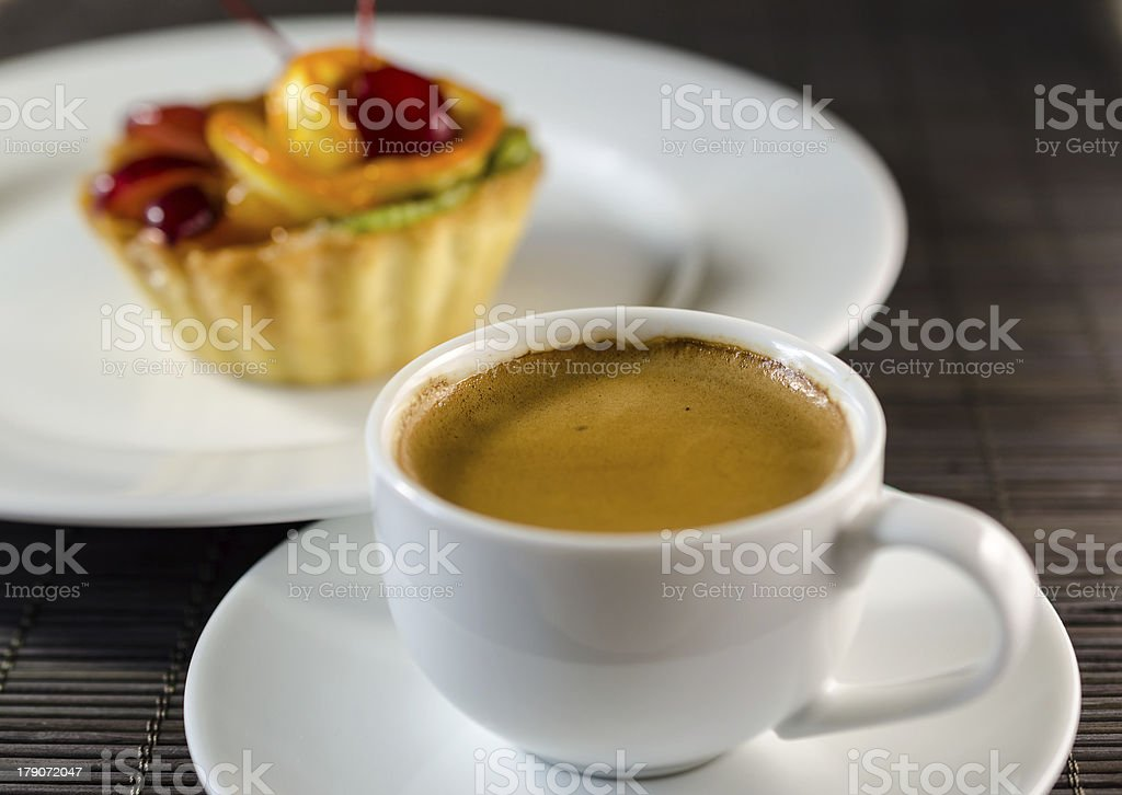 Cup of espresso and dessert royalty-free stock photo