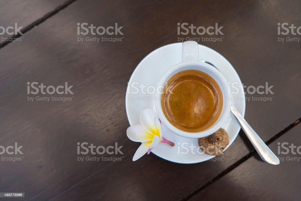 Cup of espresso coffee ,Kopi Luwak Bali ,Indonesia. stock photo
