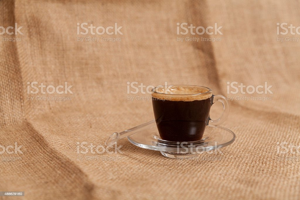 Cup of Espresso on a Broadcloth Surface stock photo