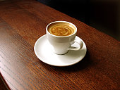 A cup of espresso on a wooden table