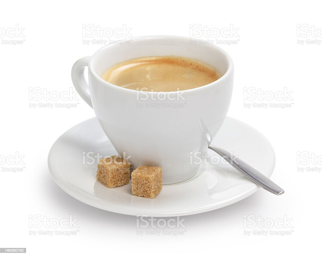 cup of espresso with cane sugar and spoon royalty-free stock photo