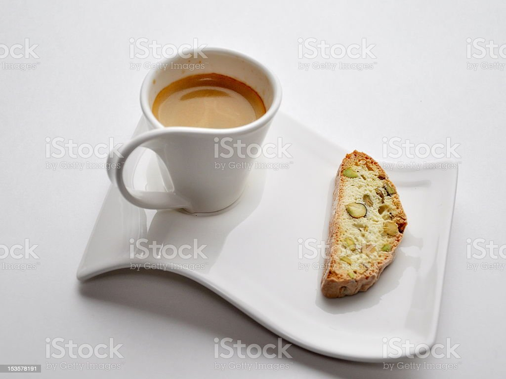 cup of espresso with cantuccini royalty-free stock photo