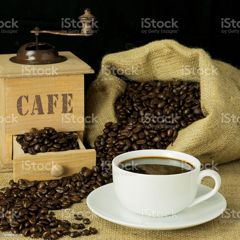 Cup of freshly ground coffee stock photo