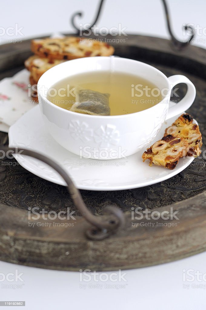 Cup of  green tea and biscotti royalty-free stock photo