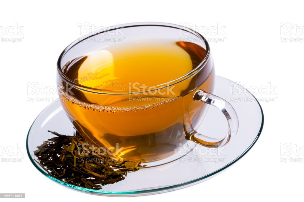 Cup of green tea, clipping-path included stock photo