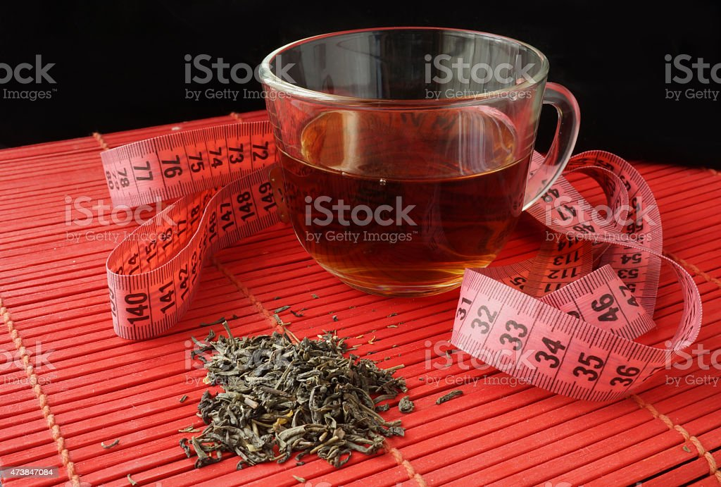 Cup of green tea for weight loss stock photo