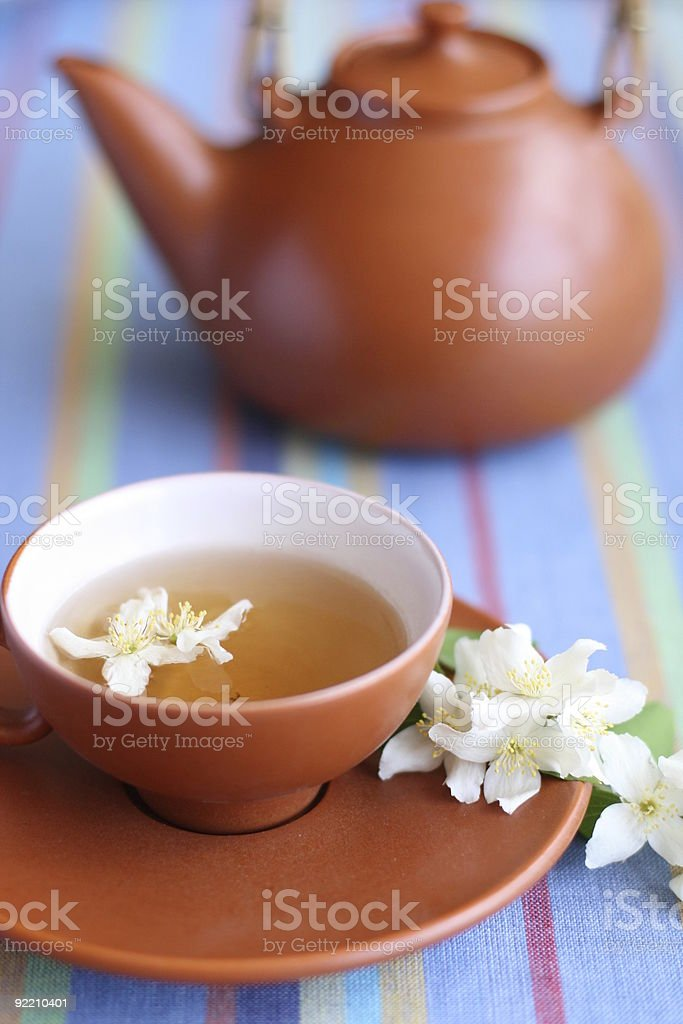 cup of green tea with jasmine flowers and a teapot royalty-free stock photo