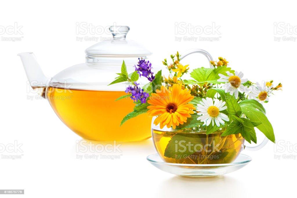 Cup of herbal tea stock photo