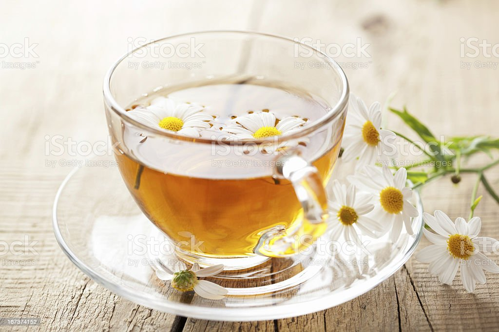 cup of herbal tea with chamomile flowers royalty-free stock photo