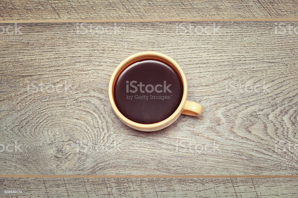 cup of hot black coffee view from above stock photo