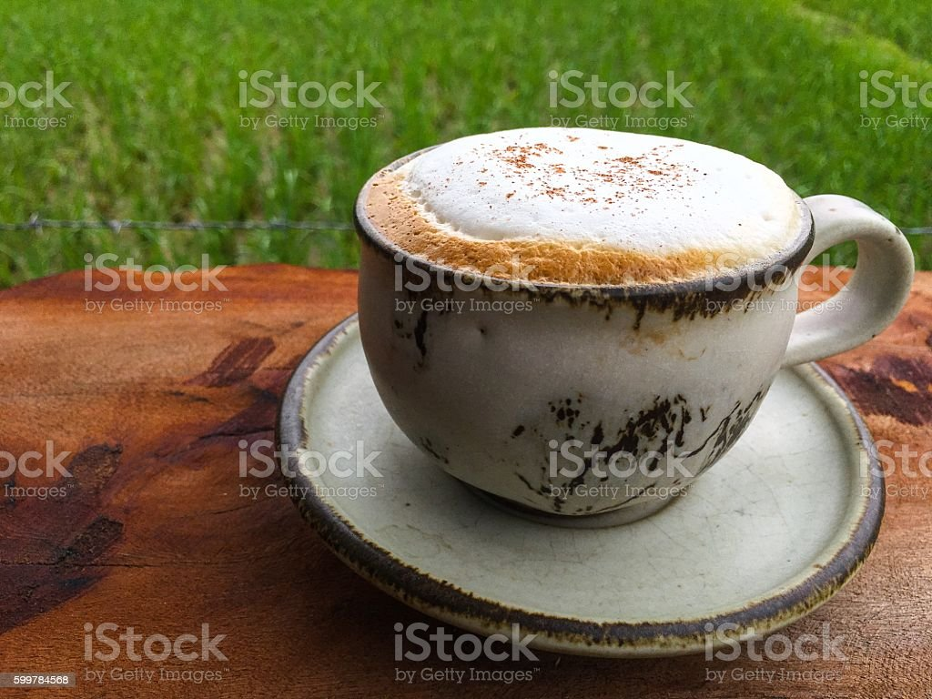 cup of hot cappuccino on the wooden table royalty-free stock photo
