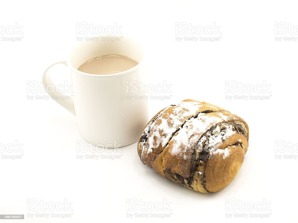 Cup of hot chocolate and bread icing royalty-free stock photo