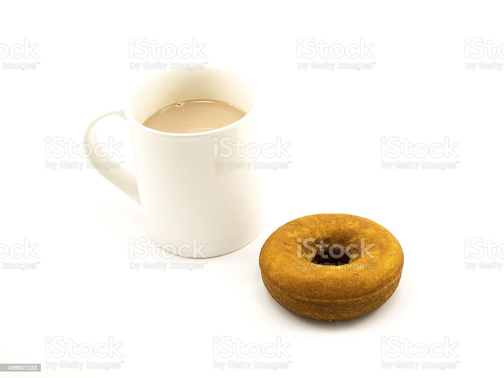 Cup of hot chocolate and donut royalty-free stock photo