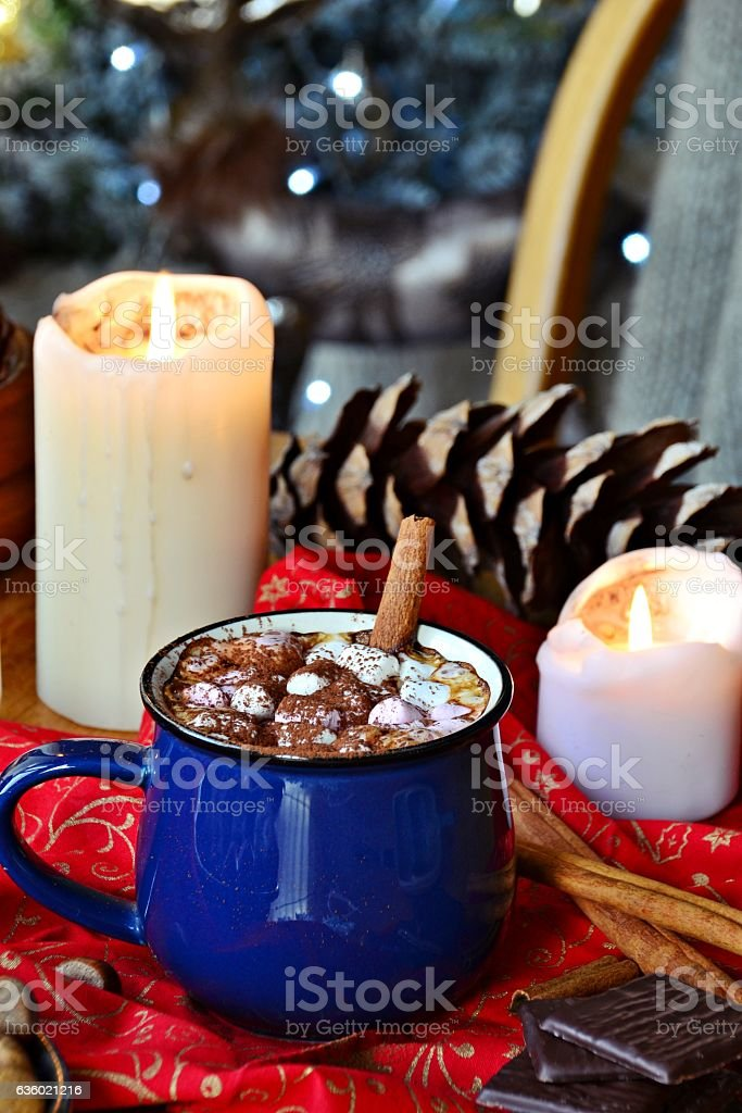 Cup of hot chocolate. Cozy Christmas Evening stock photo