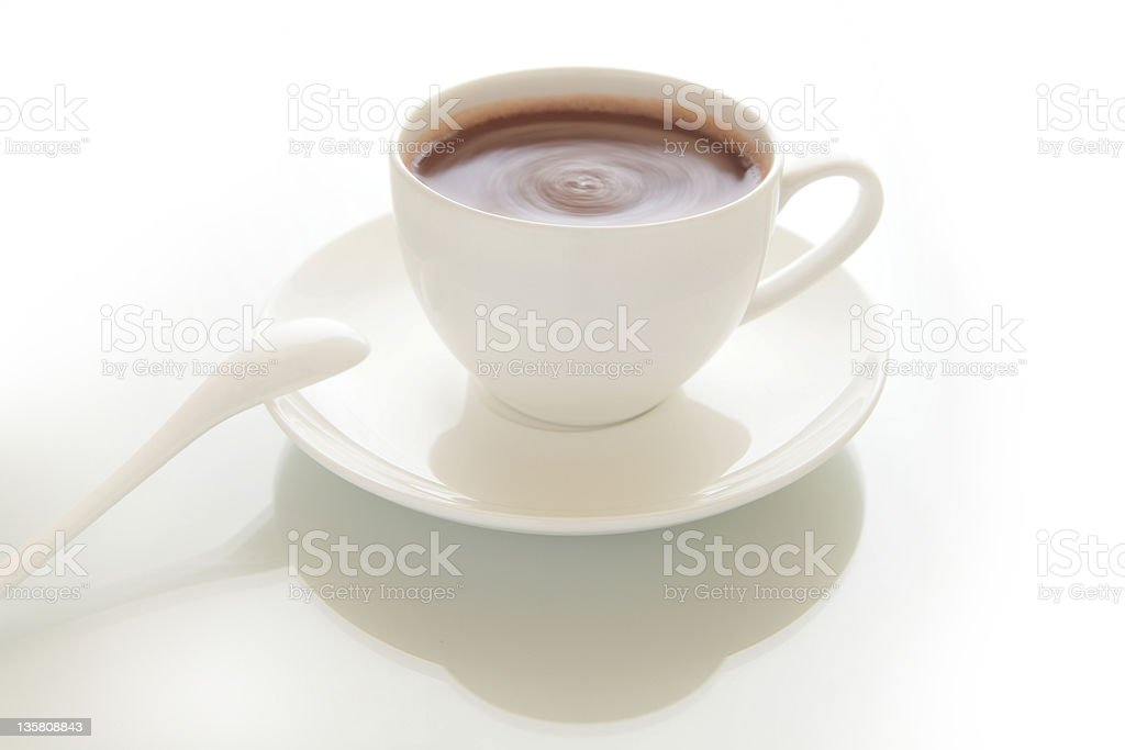 cup of hot chocolate drink with gray background royalty-free stock photo