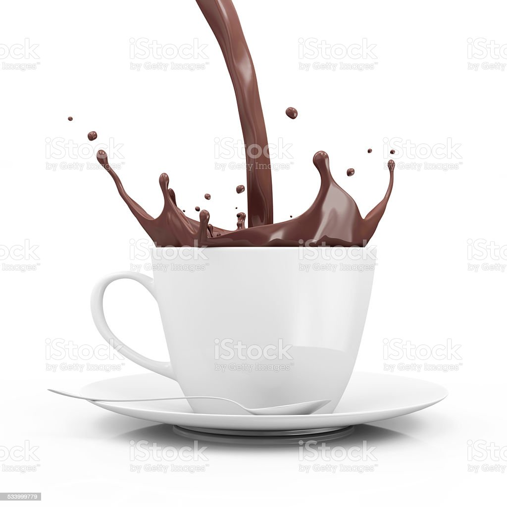 Cup of Hot Chocolate with Crown Splash stock photo