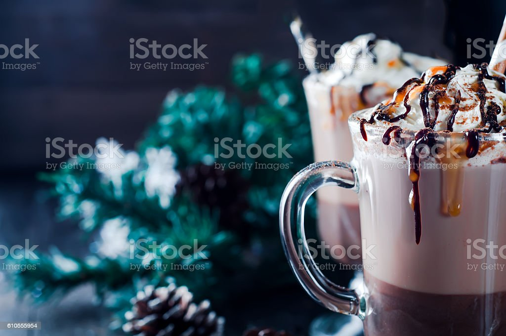 Cup of hot cocoa or coffee for Christmas stock photo