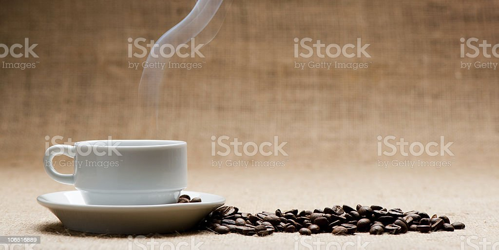 Cup of hot coffee about the ferry royalty-free stock photo